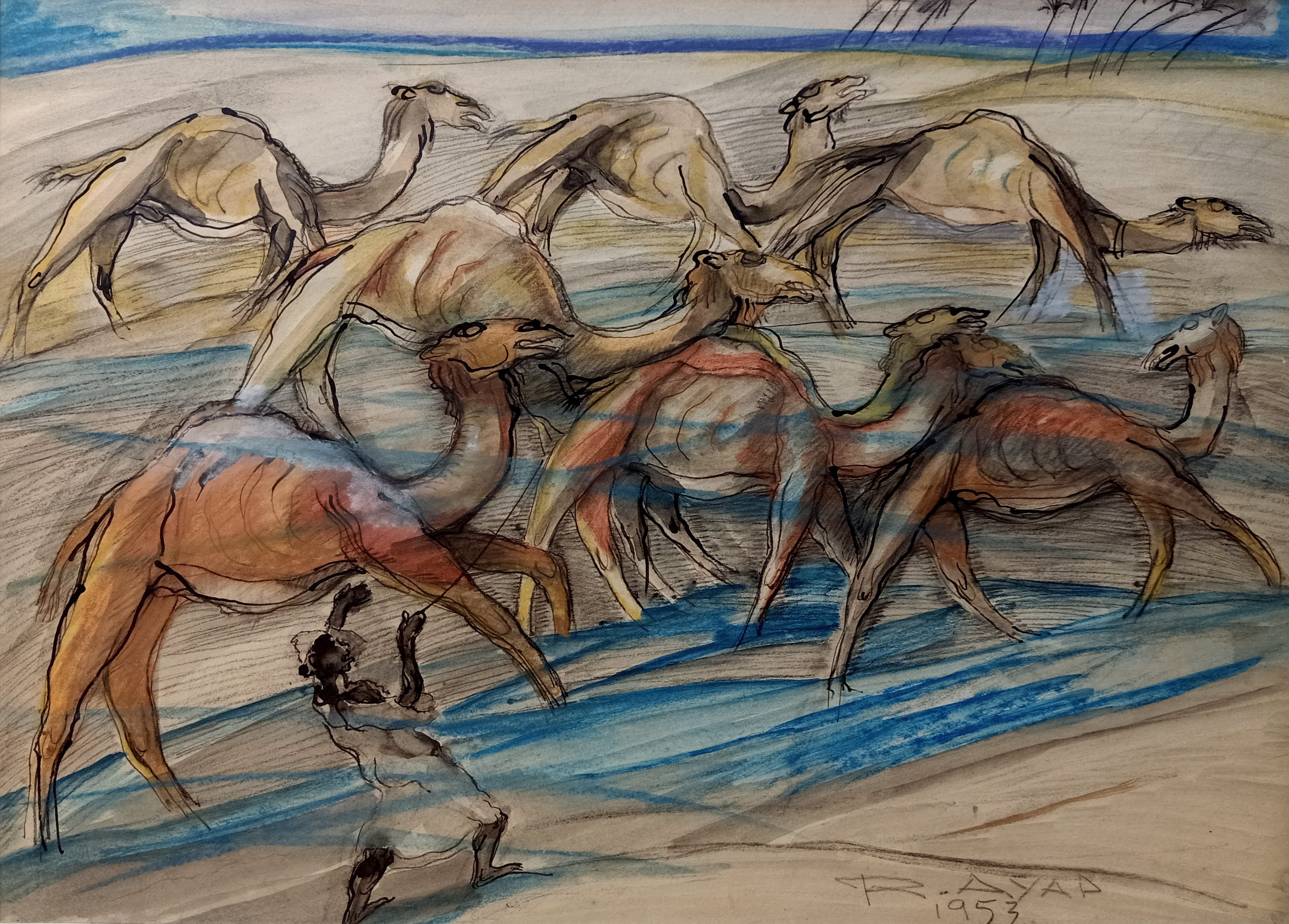 Ragheb Ayad, Camels, 1953. 47 x 65 cm Mixed media on paper Signed and dated bottom right