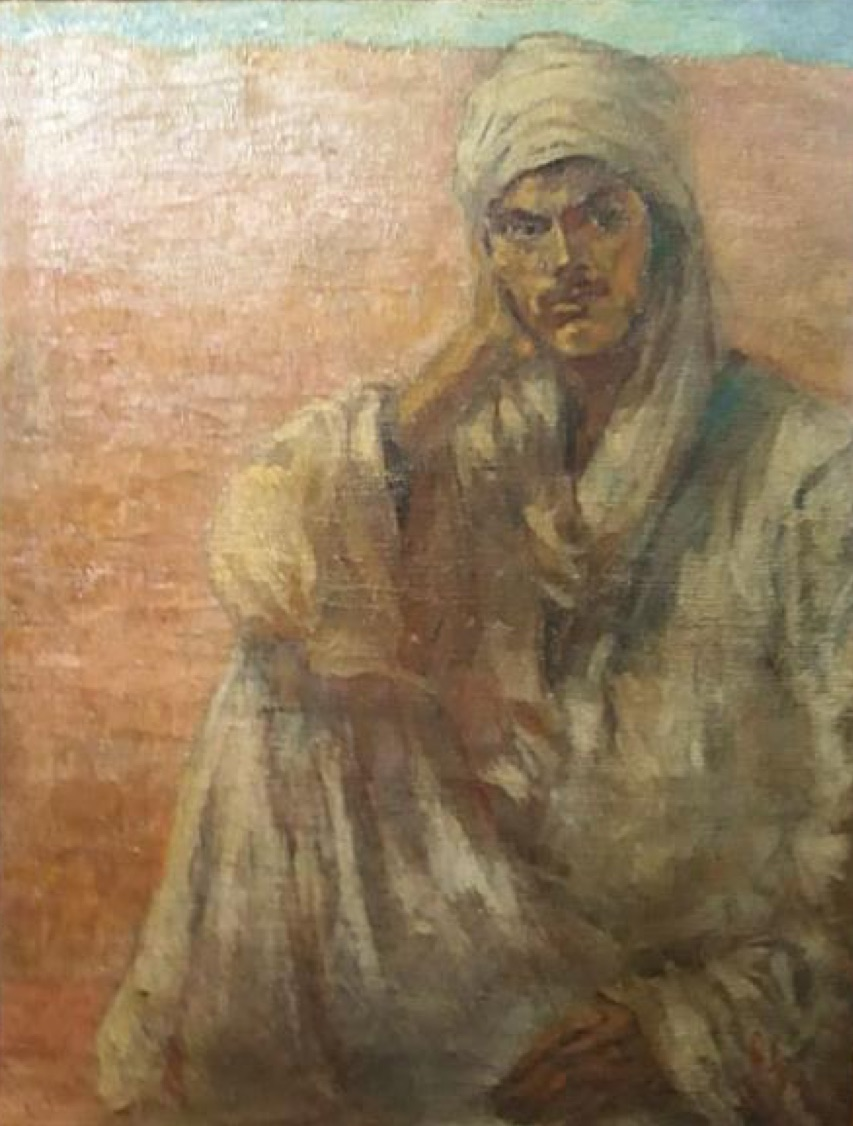 Ragheb Ayad, (Fellah), 1944. Oil on canvas, 90 x 70cm. Signed R. Ayad and dated lower right