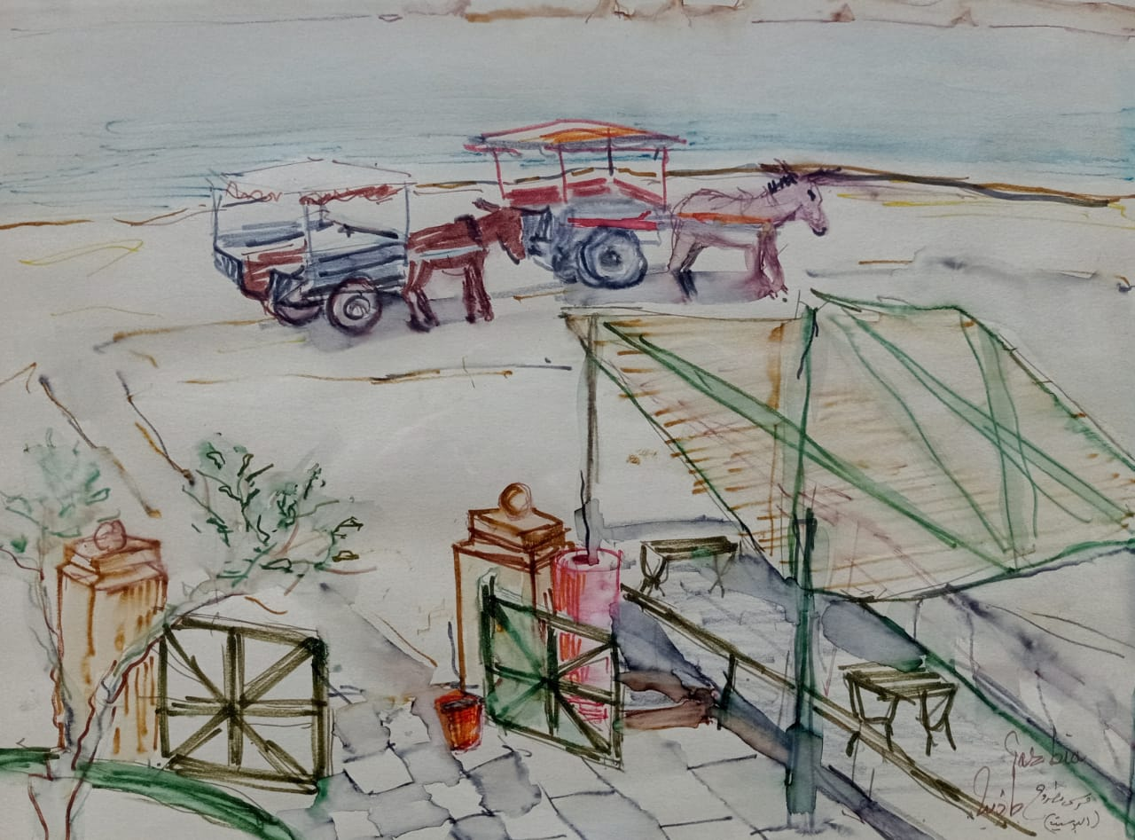 GAZBIA SIRRY (1925) Marsa Matrouh 40 x 30 cm Watercolor on paper Signed in English and Arabic lower right
