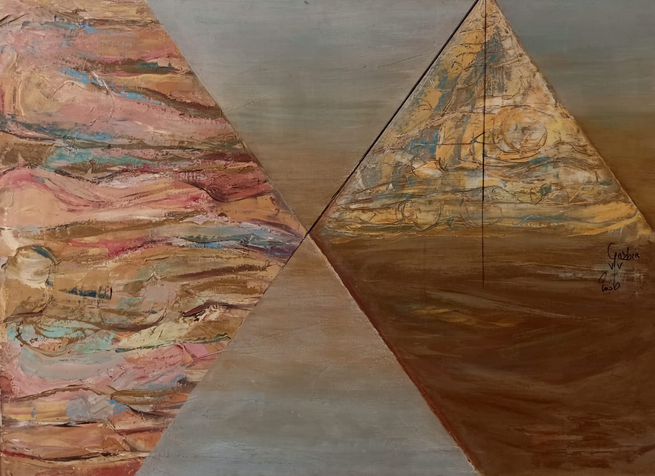 GAZBIA SIRRY (1925) Le lieu et le temps Series, 1973 75 x 100 cm Oil on canvas Signed and dated 1973 mid-right