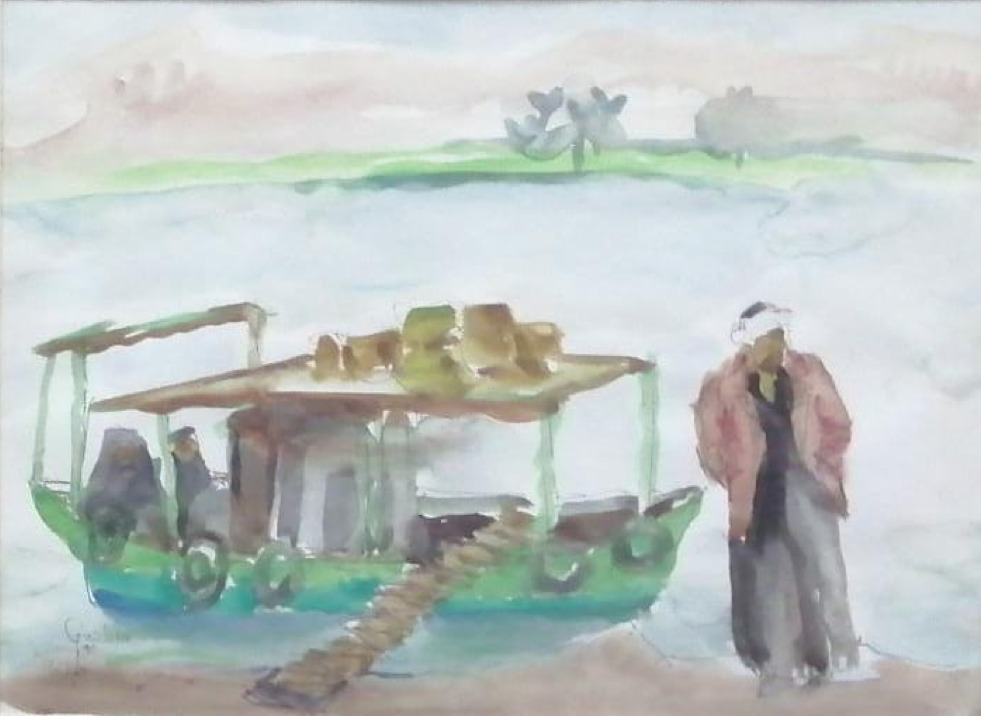 GAZBIA SIRRY (1925) 38 x 28 cm Watercolor on paper Signed and dated 1990 lower left
