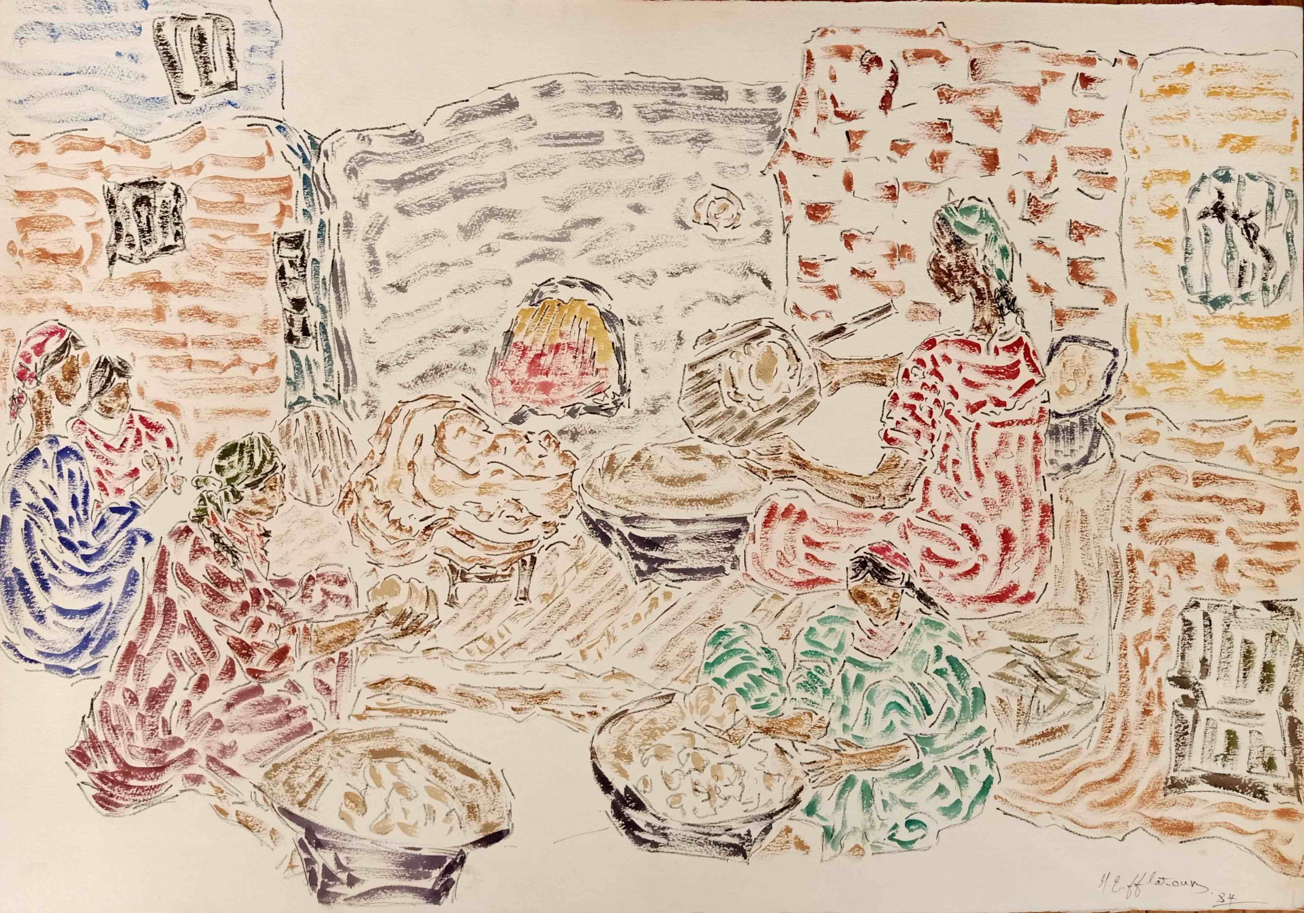 INJI EFFLATOUN al-Khobz [Bread Makers], 1984 Watercolour on rough thick paper 55 x 80 cm Signed dated lower right