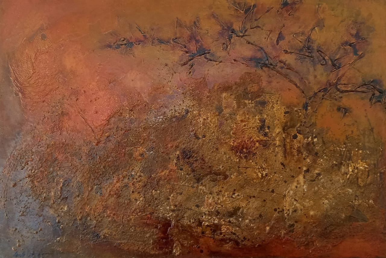 LEILA IZZET (1933) TItle unknown 60 x 90 cm Oil on wood Signed and dated 1969