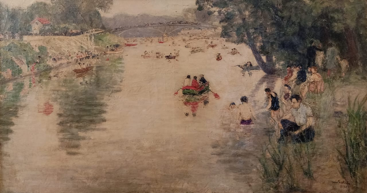 MARGUERITE NAKHLA (1908-1977) La Seine, Paris 45 x 120 cm Oil on canvas. Signed and dated 1938 lower right