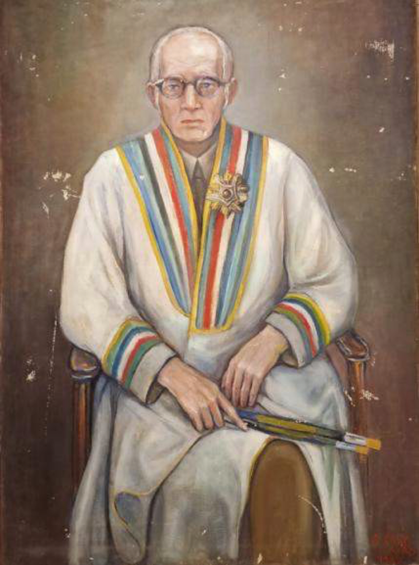EMMA CALY-AYAD (1897-1987) Ragheb's Portrait after receiving an Honorary Doctorate Degree from Anwar al-Sadat 1980 Oil on canvas 115 x 83 cm Signed and dated bottom right.