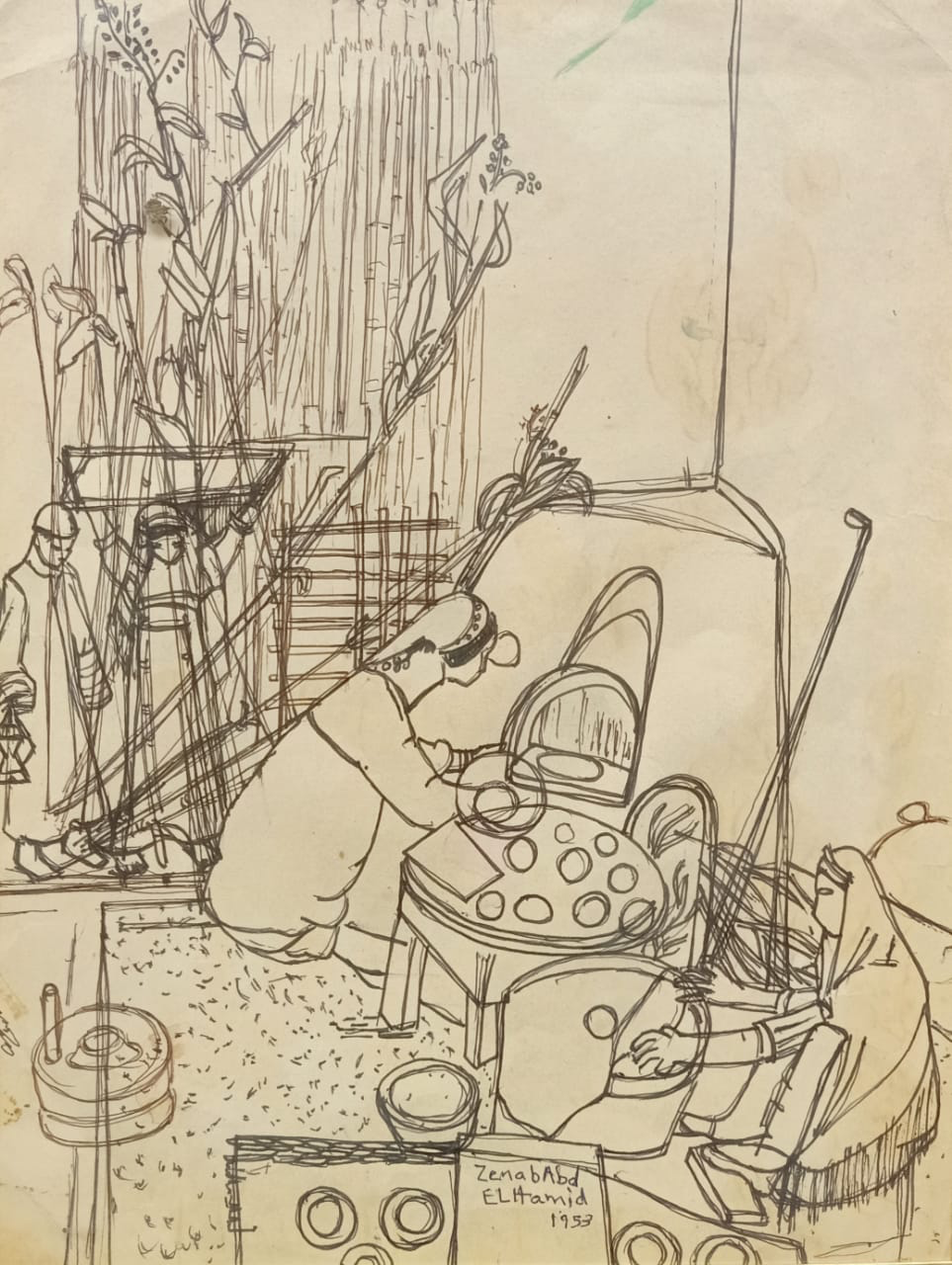 ZENAB ABD EL HAMID (1919-2002) 40 x 55 cm  Ink on paper Signed and dated 1957 middle