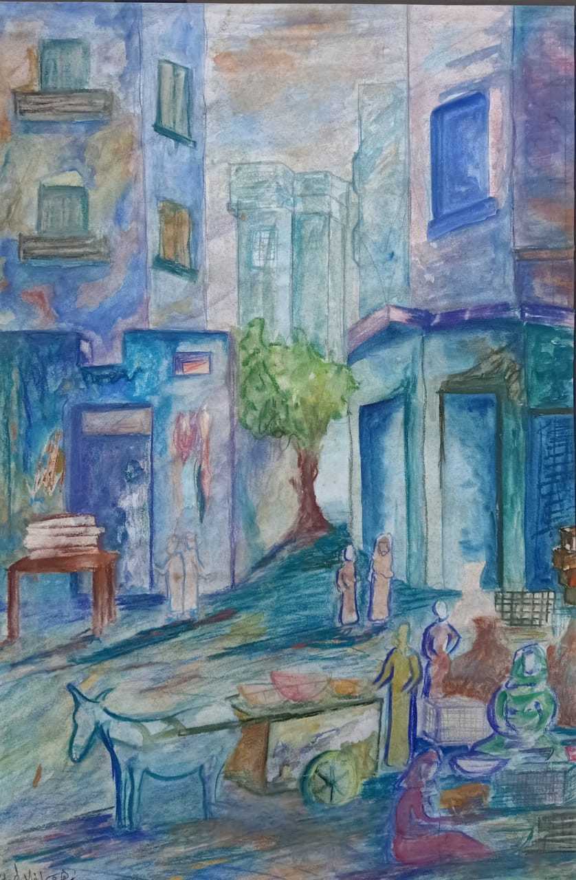 ZOHRA EFFLATOUN (1936 – 1978) 70 x 45 cm Mixed media on paper Signed in Arabic lower left