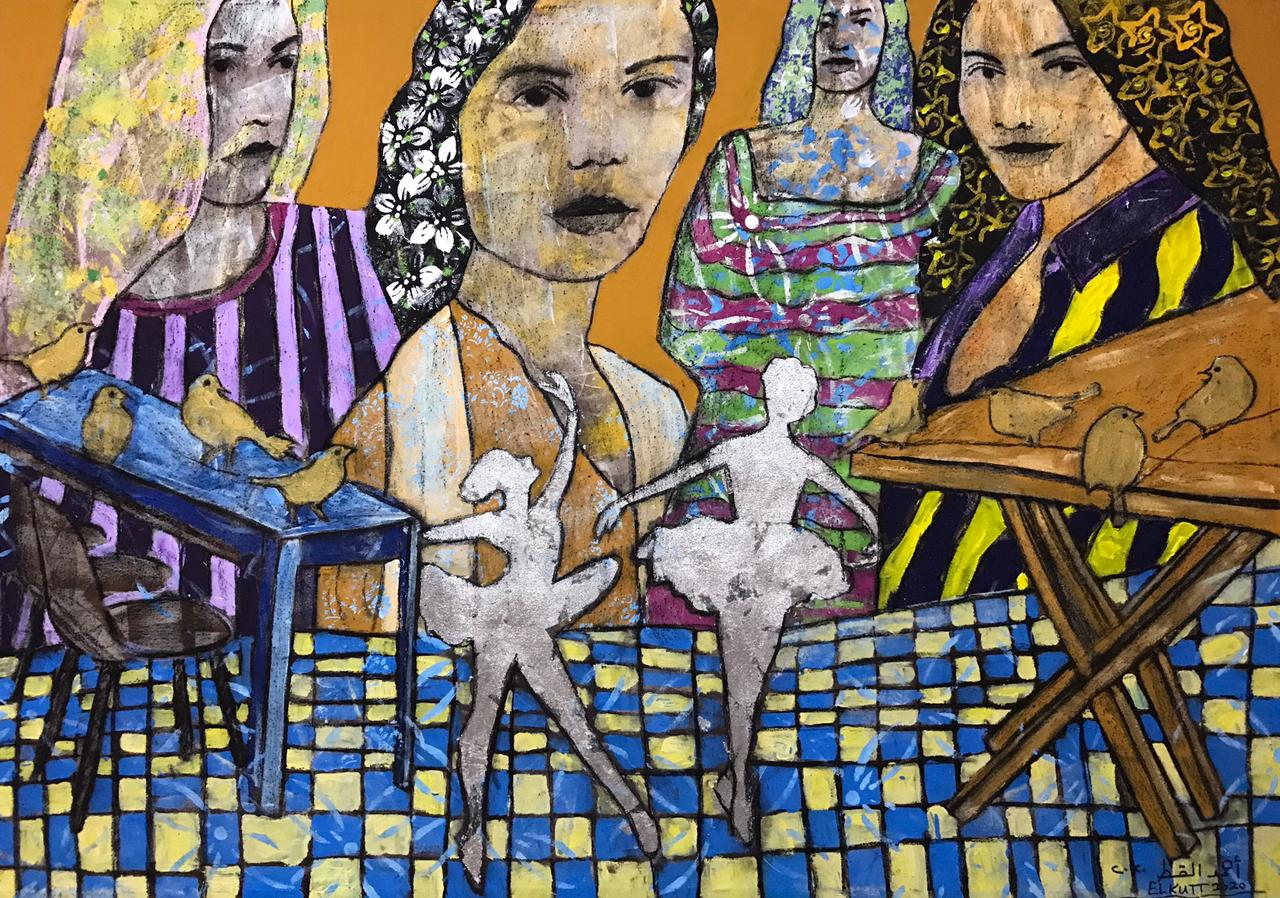 AHMED EL KUTT  / Untitled / 200 x 140 cm / Acrylic and gold papers on canvas / LE 30,000 / USD 1,950 / PALESTINE-102