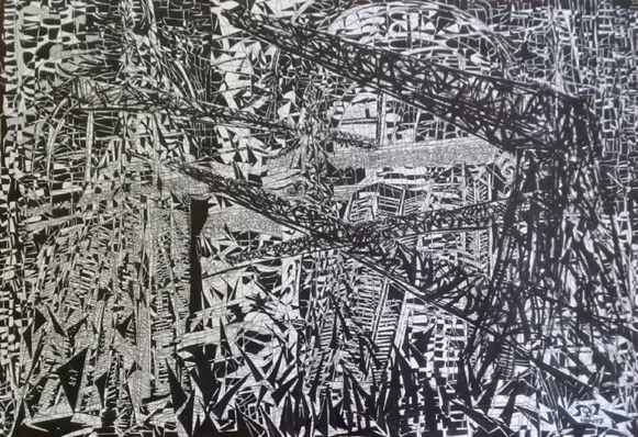 AZZA EZZAT / Palace Series I, 2017 / 50 x 70 cm / Pen and ink on paper / LE 10,000 / USD 640 / PALESTINE-114