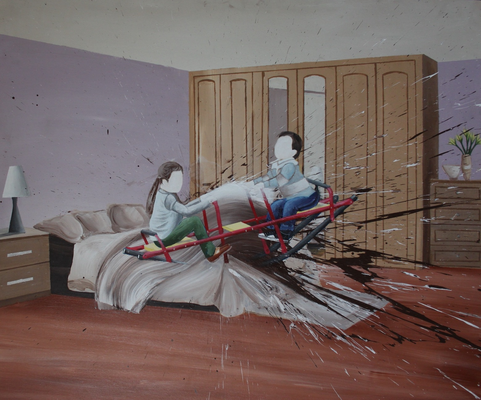 HANY RASHED / Fourth Stage (The Room), July 16, 2020 / 120 x 100 cm / Acrylic on canvas / LE 75,000 / USD 4,800 / PALESTINE-128
