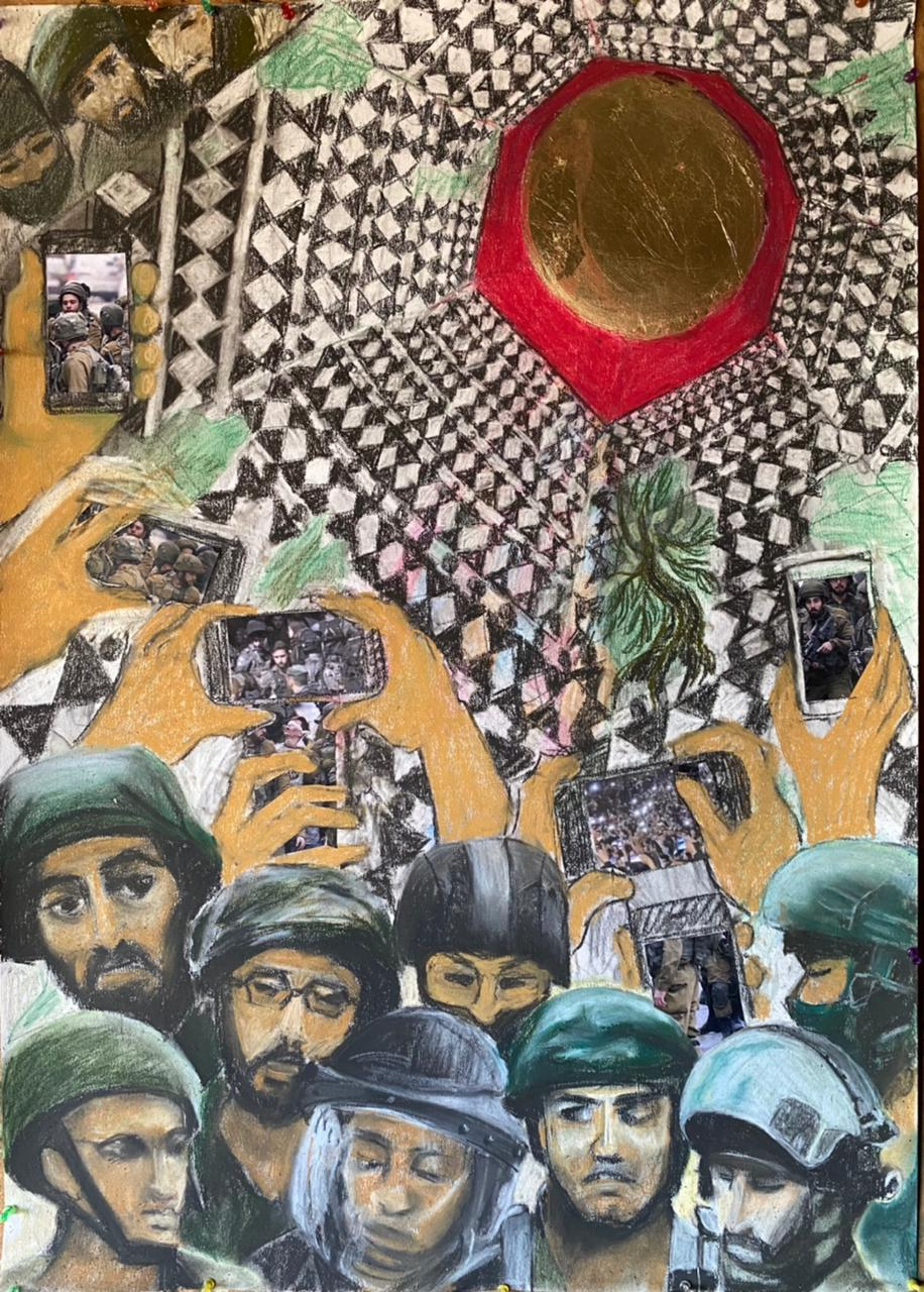 HEBA HUSSEIN / No Comment, 2021 / 100 X 70cm / Pastel, charcoal, collage and gold leaf on canvas / LE 50,000 / USD 3,195 / PALESTINE-185