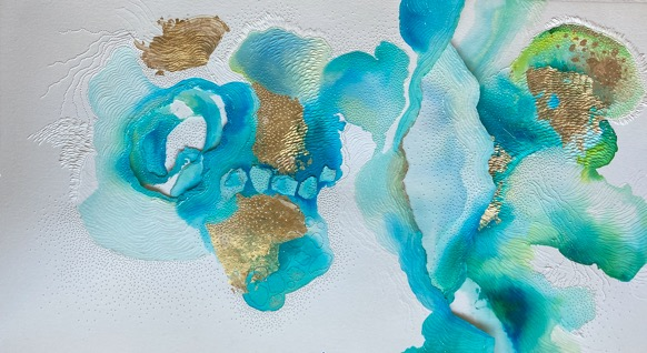 MARIAM FARIED / Untitled, 2021 / 108 x 96 cm / Mixed media, Aquiline, Gold leaves on paper / LE 28,000 / LE 1,800 / PALESTINE-154